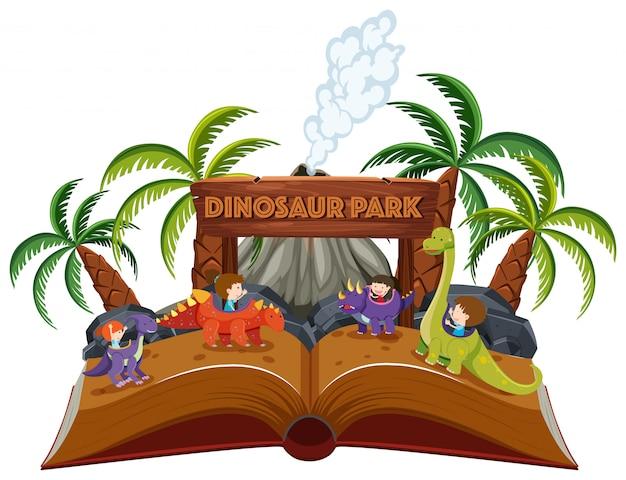 Ein pop-up-buch-dinosaurier-thema