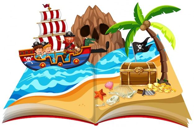 Ein pop-up-buch-piratenthema