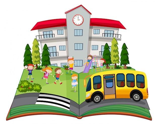 Ein popup-buch mit kindern in der schule