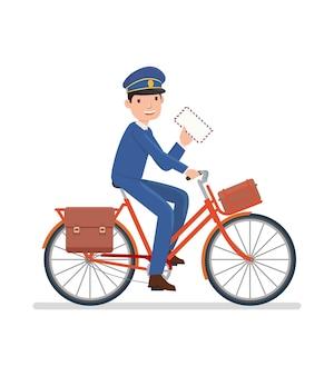 Ein postbote, der fahrrad fährt, um einen brief zu senden