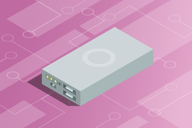 Ein powerbank isometrisch mit elektro-technologie als hintergrund
