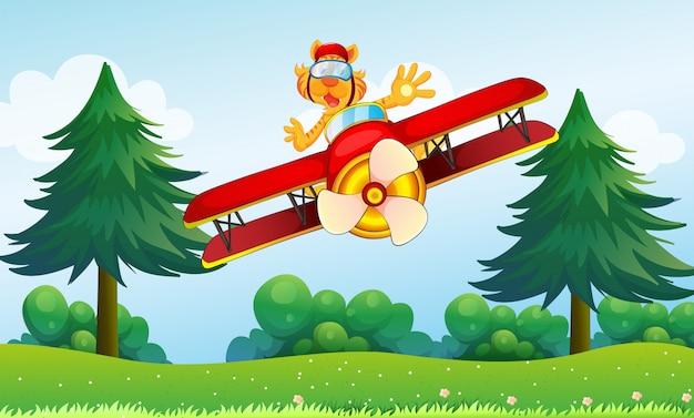 Ein prahlerischer tiger, der in einem flugzeug reitet