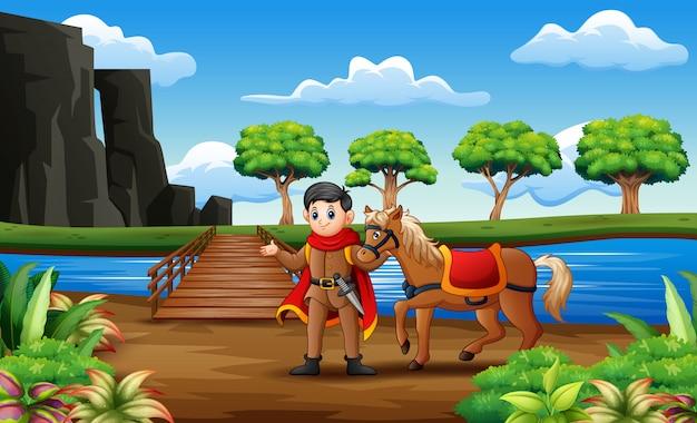 Ein prinz und sein pferd über die holzbrücke