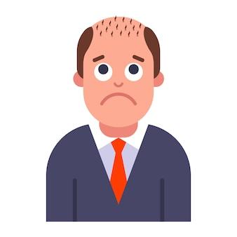 Ein problem mit männlicher kahlheit. haarausfall am kopf. flache vektorillustration.