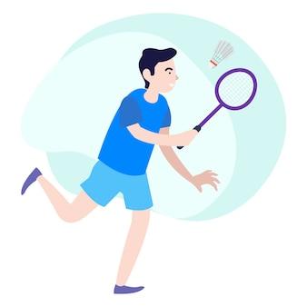 Ein professioneller badmintonspieler, der an einem internationalen wettbewerb teilnimmt