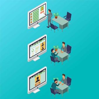 Ein prozess der einstellung von mitarbeitern durch eine hr-manager-isometrische illustration