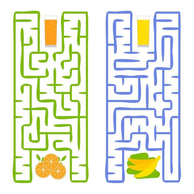 Ein quadratisches labyrinth. finde den weg vom saft zum obst.