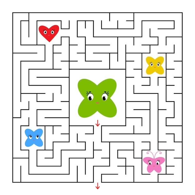 Ein quadratisches labyrinth. hilf dem cartoon, aus dem labyrinth herauszukommen und seine freunde zu retten.