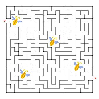 Ein quadratisches labyrinth. sammle alle bienen und finde einen weg aus dem labyrinth.