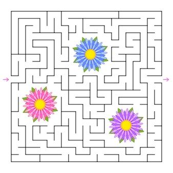Ein quadratisches labyrinth. sammle alle blumen und finde einen weg aus dem labyrinth.