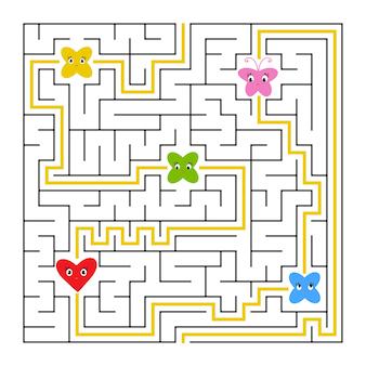Ein quadratisches labyrinth. sammle alle feen und finde einen weg aus dem labyrinth.