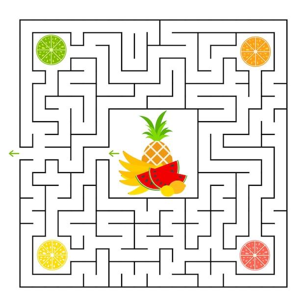 Ein quadratisches labyrinth. sammle alle fruchtlappen und finde einen weg aus dem labyrinth. Premium Vektoren