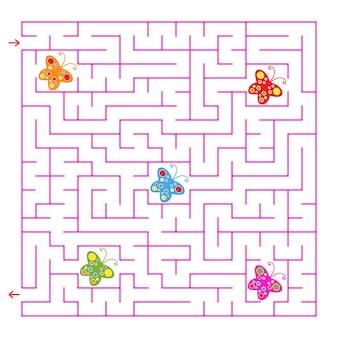 Ein quadratisches labyrinth. sammle alle schmetterlinge und finde einen weg aus dem labyrinth.