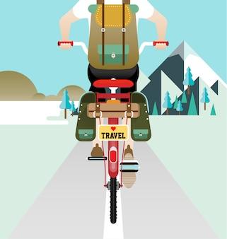 Ein radfahrer, der rennrad auf der straße reitet, um zu reisen