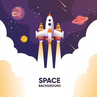 Ein raketenschiff startet mit planeten und galaxien ins all und erforscht das universum mit meteor- und sternenillustrationen