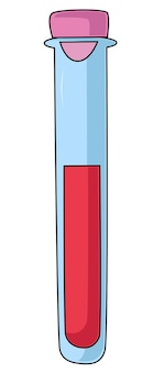 Ein reagenzglassymbol im flachen stil mit einer blutprobe