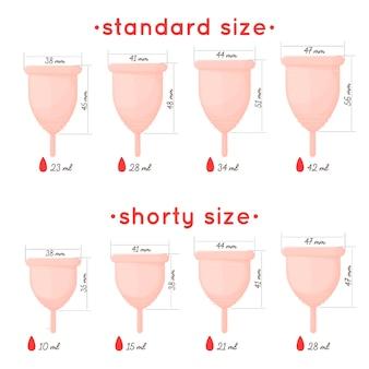 Ein realistischer satz von menstruationstassen verschiedener arten und größen. rosa menstruationsprodukte für die weibliche körperpflege mit beschreibung von volumen, höhe und breite. . illustration