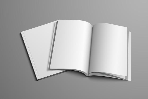 Ein realistisches layout des umblätterns und deckblatts.
