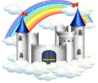 Ein Regenbogen über schönem Schloss