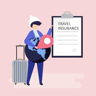 Ein Reisender mit einem Reiseversicherungsdokument