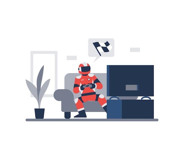 Ein rennfahrer, der videospiele spielt, während er einen helm trägt