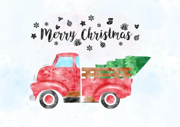 Ein retro-pickup-truck, der kiefer im aquarellstil mit buchstaben der frohen weihnachten trägt und mit weihnachtssymbolen auf hellblauem aquarell und weißem hintergrund verziert ist.