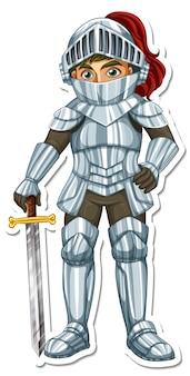 Ein ritter in rüstung mit schwert-cartoon-charakter-aufkleber