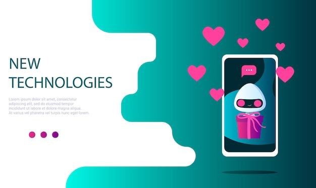 Ein roboter auf dem telefonbildschirm mit einem geschenk in der hand und einer nachrichtenbenachrichtigung mit herzen und vorlieben. geschenklieferung. landingpage-vorlage