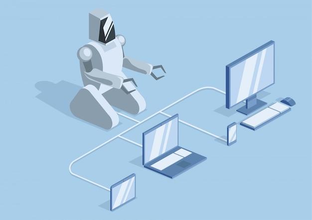 Ein roboter, der über kabel mit einem computer, einem laptop und mobilen geräten verbunden ist. robotik, programmierung und robotertraining. illustration, auf blauem hintergrund.