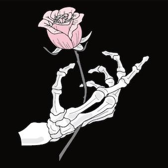 Ein romantisches skelett hält eine rose in der hand. vektor-illustration