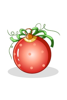 Ein roter tupfen-weihnachtsball mit grüner bandillustration