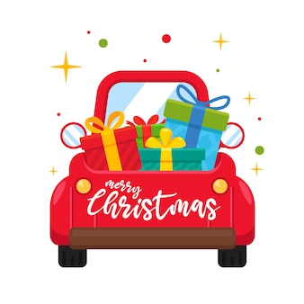 Ein rotes auto am weihnachtstag, das eine große geschenkbox trägt.
