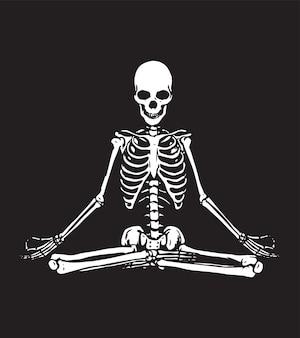 Ein ruhiges meditierendes skelett. abstrakte illustration im schwarzweiss-stil.