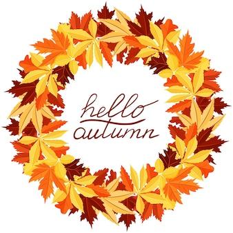 Ein runder rahmen aus botanischen saisonalen elementen handschriftliche inschrift hello autumn