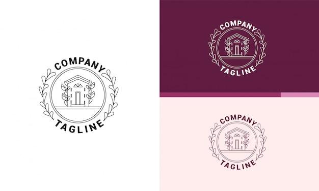 Ein rundes logo für ein unternehmen, das immobilien verkauft. es ist ein gemütliches haus.