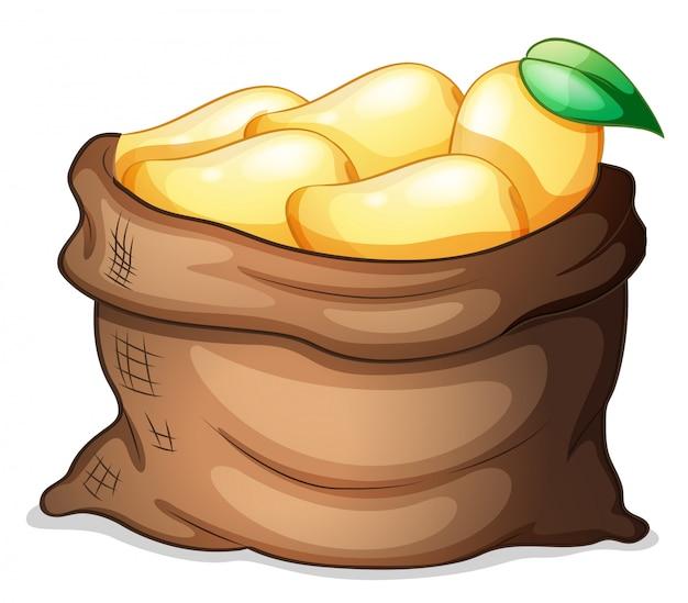 Ein sack voll reifer mangos