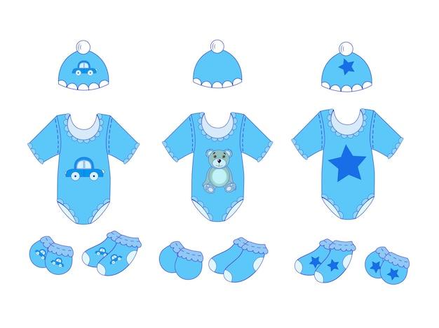 Ein satz babykleidung für jungen in vektor-eps 10