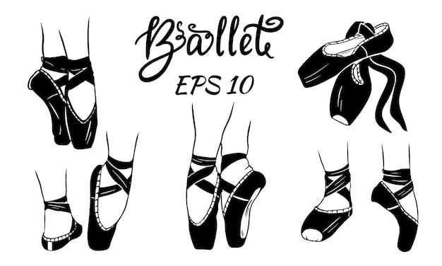 Ein satz ballettschuhe. damenbeine in ballettschuhen. ballettschuhe, spitzenschuhe.