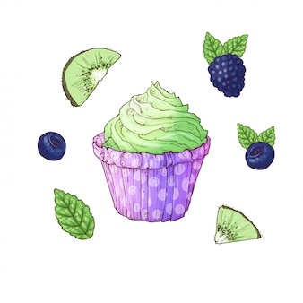 Ein satz der brombeer-heidelbeerkiwi des kleinen kuchens. handzeichnung vektor-illustration