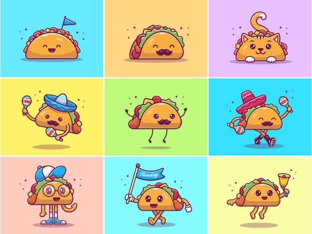 Ein satz der niedlichen taco-maskottchen-illustration. sammlungen von taco character concept isoliert