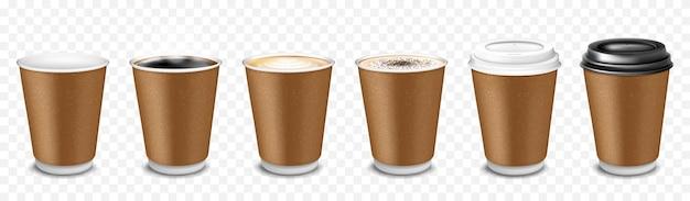 Ein satz einwegbecher aus papier für kaffee, latte, cappuccino, espresso, americano, kakao. tassen mit plastikdeckel. kaffee zum mitnehmen. vektor realistische 3d-darstellung auf transparentem hintergrund isoliert