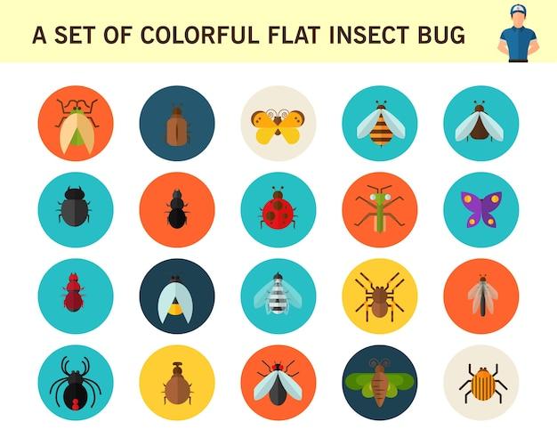 Ein satz flache ikonen des bunten flachen insektenwanzen-konzeptes.