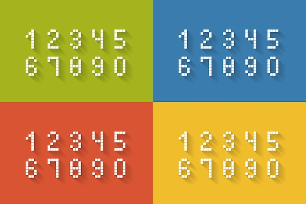 Ein satz flacher pixelzahlen auf vier verschiedenen farben vervollständigt die vektorillustration von null bis neun