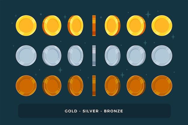 Ein satz gold-, silber- und bronzemünzen. isoliert