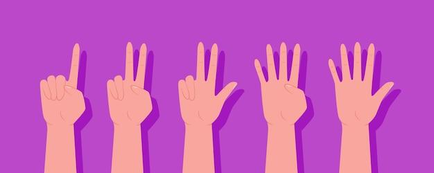 Ein satz hände. satz zählhände unterschreiben von eins bis zehn. der finger zeigt. zählen sie auf ihre finger. null, eins, zwei, drei, vier, fünf, sechs, sieben, acht, neun, zehn.