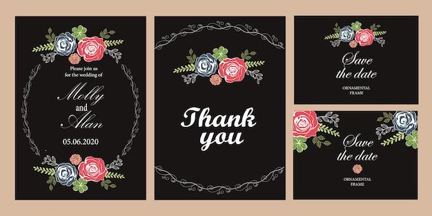 Ein satz hochzeitseinladungskarten mit rosen. schablone für einladungen mit schwarzem hintergrund.