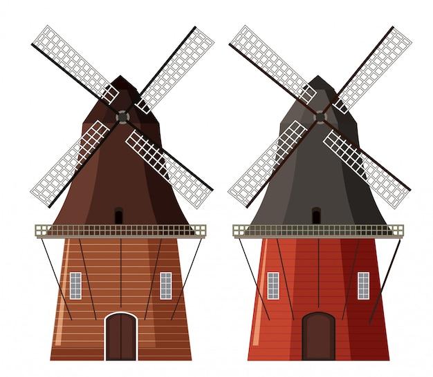 Ein satz hölzerne windmühle
