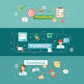 Ein satz infographic fahnen des horizontalen feedback-netzes des computers beweglichen