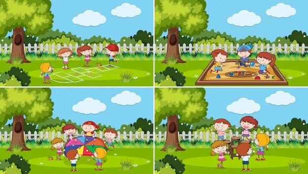 Ein satz kinder, die am park spielen