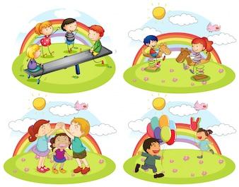 Ein Satz Kinder, die am Spielplatz spielen